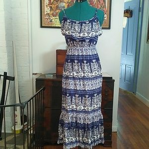 Blue Rayon Maxi Dress